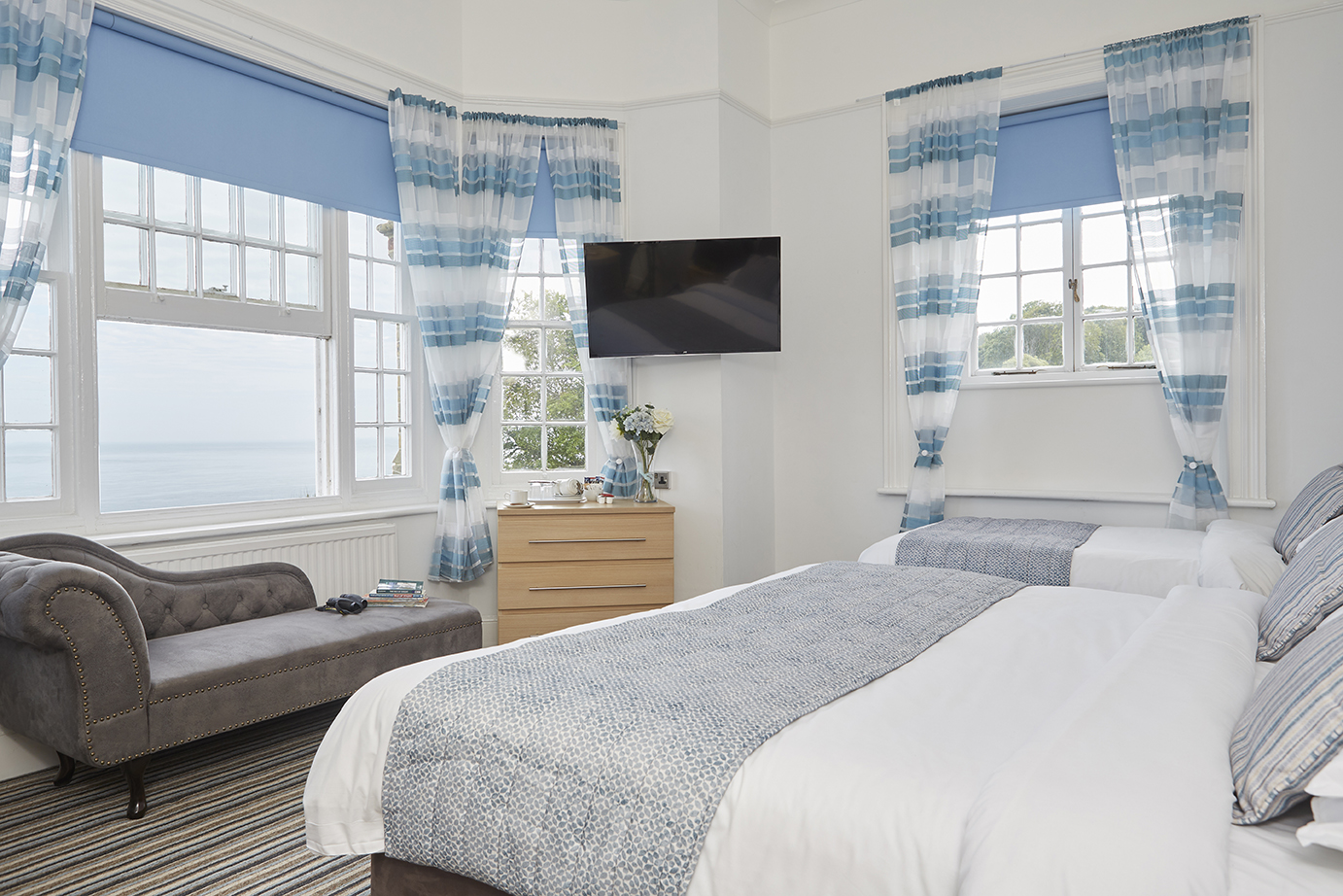 Luccombe Manor Country House Hotel, Sea View Bedroom, Isle of Wight