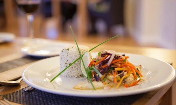 Freshly prepared dishes in the Appley Restaurant, Luccombe manor Country House Hotel