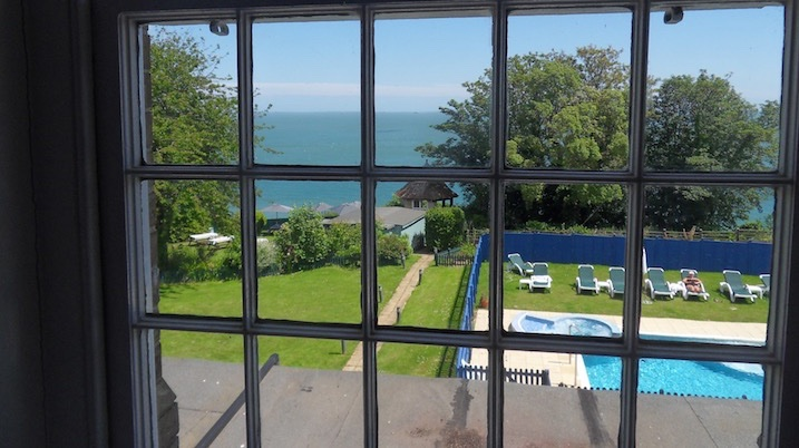 Sea views from bedrooms at LUccombe Manor Country House Hotel, Isle of Wight