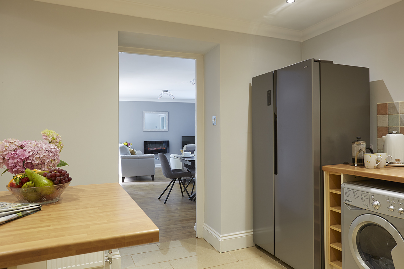 Chine Court Holiday Apartment, Kitchen in to Lounge, Shanklin, Isle of Wight