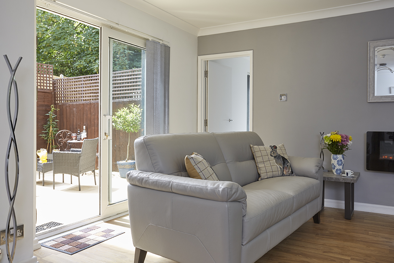 Chine Court Holiday Apartment Lounge and Courtyard, Shanklin, Isle of Wight